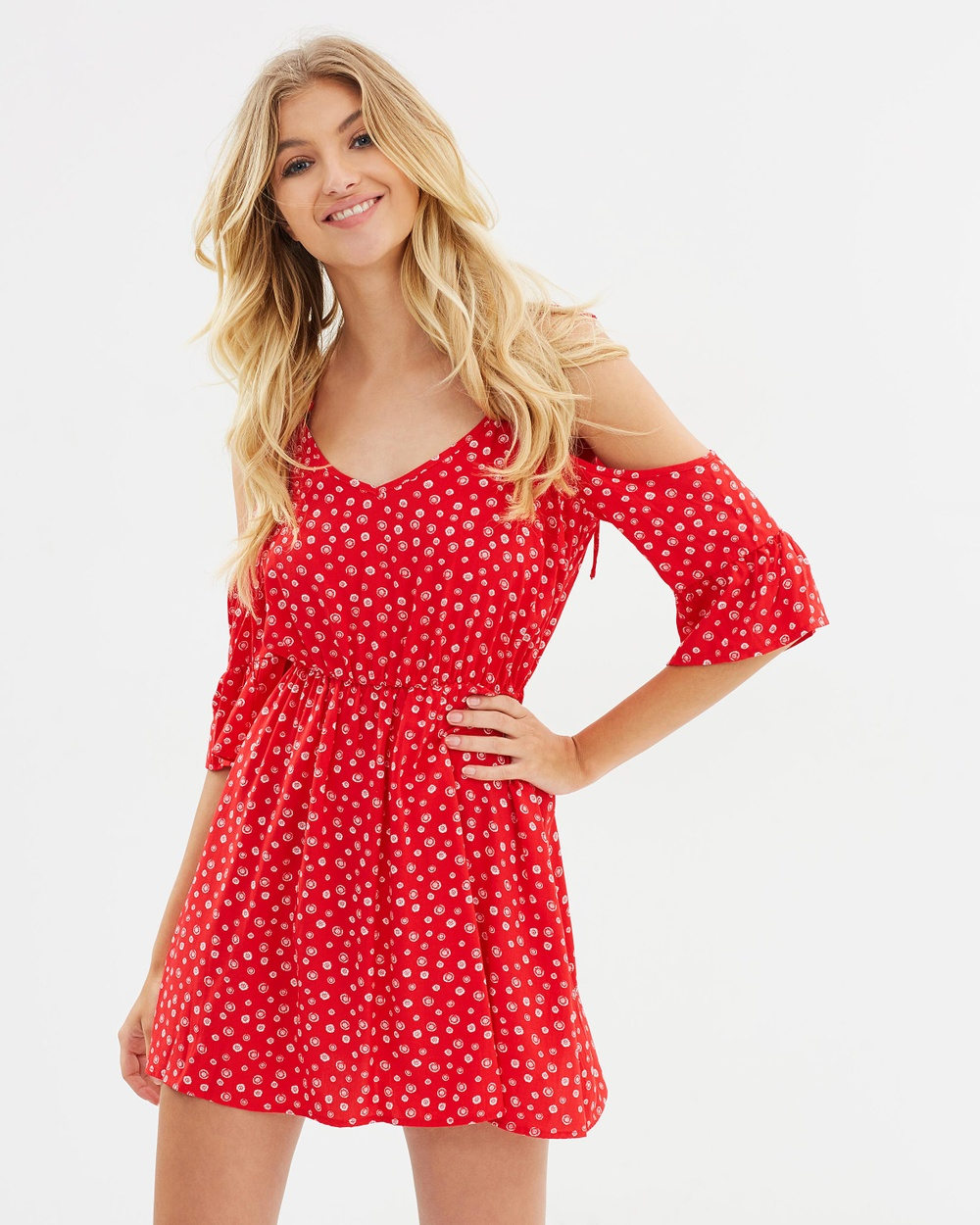 Atmos & Here ICONIC EXCLUSIVE Melissa Cold Shoulder Dress Printed Dresses Red Cute Daisy ICONIC EXCLUSIVE Melissa Cold Shoulder Dress
