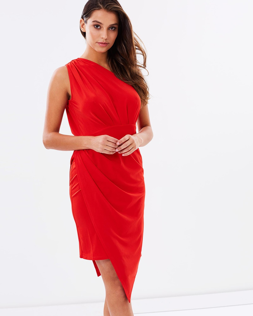 SKIVA One Shoulder Asymmetrical Dress Dresses Red One Shoulder Asymmetrical Dress