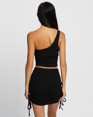 Cotton On One Shoulder Sleeveless Top - Cropped tops (Black)