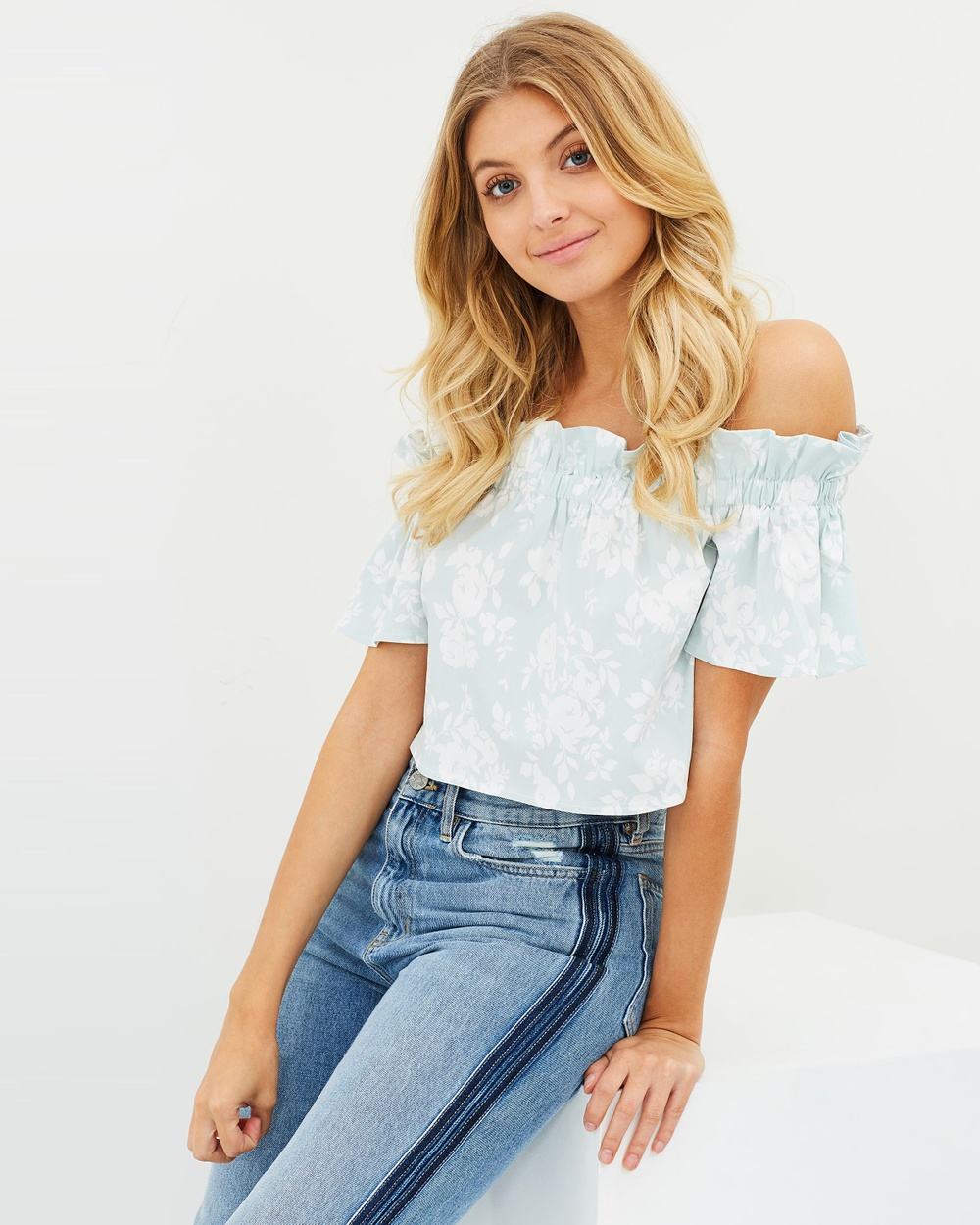 Atmos & Here ICONIC EXCLUSIVE Rania Off Shoulder Printed Top Cropped tops Mint White Stencil Floral ICONIC EXCLUSIVE Rania Off-Shoulder Printed Top