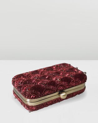 From St Xavier Colden Box Clutch - Clutches (Red)