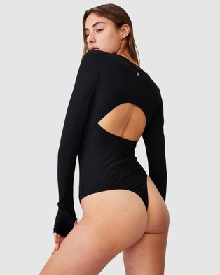 Cotton On Body Active Open Back Bodysuit - Tops (Black)