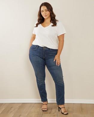 Atmos&Here Curvy Organic Cotton V Neck Tee Clothing White V-Neck