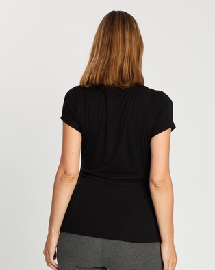 Cotton On Maternity Maternity Wrap Front Short Sleeve Top - T-Shirts & Singlets (Black)