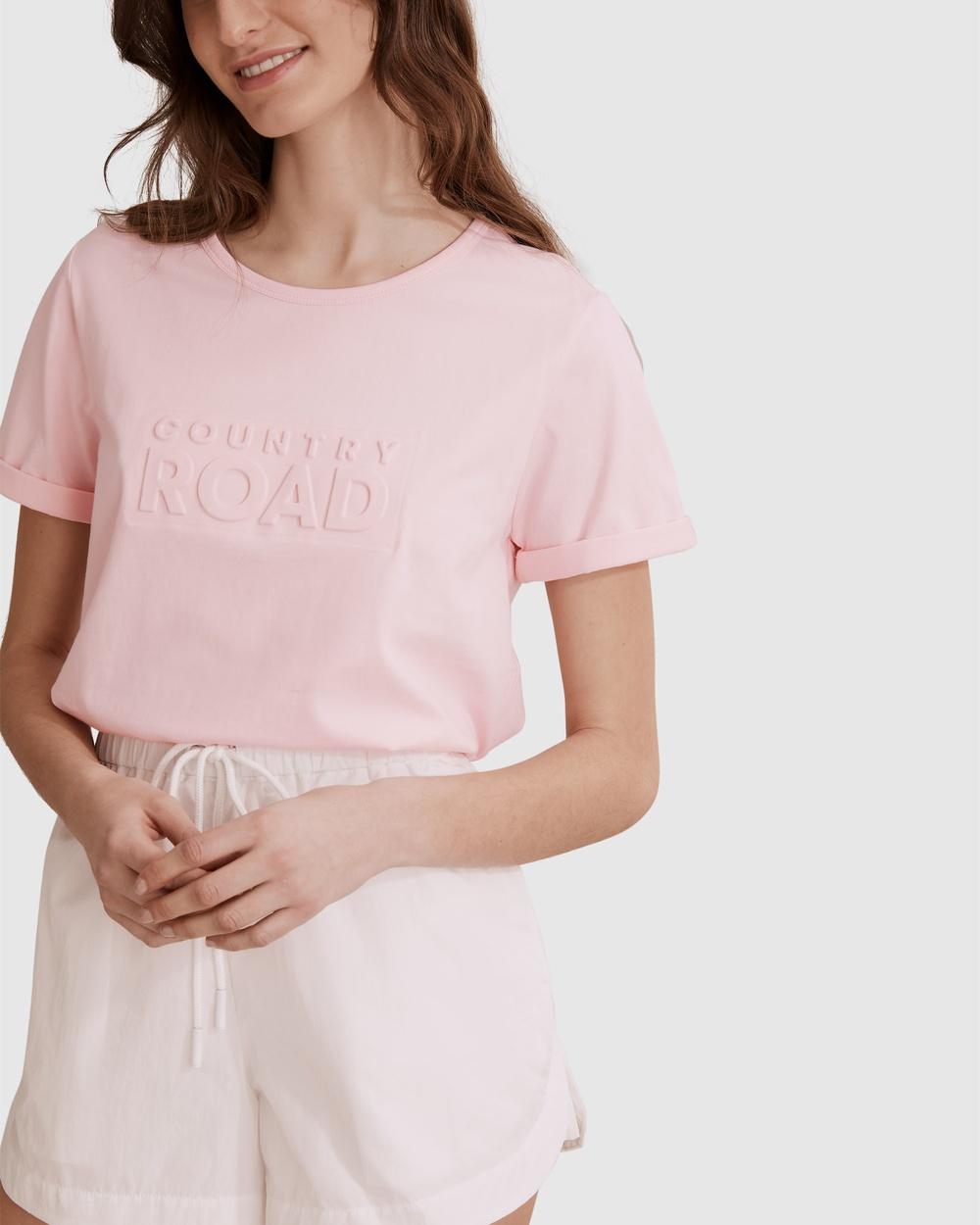 Country Road Verified Australian Cotton Modern Embossed T shirt T-Shirts & Singlets pink T-shirt Australia