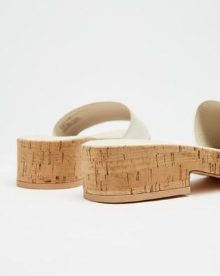 AERE Leather Single Strap Cork Mules - Sandals (Cream Leather)