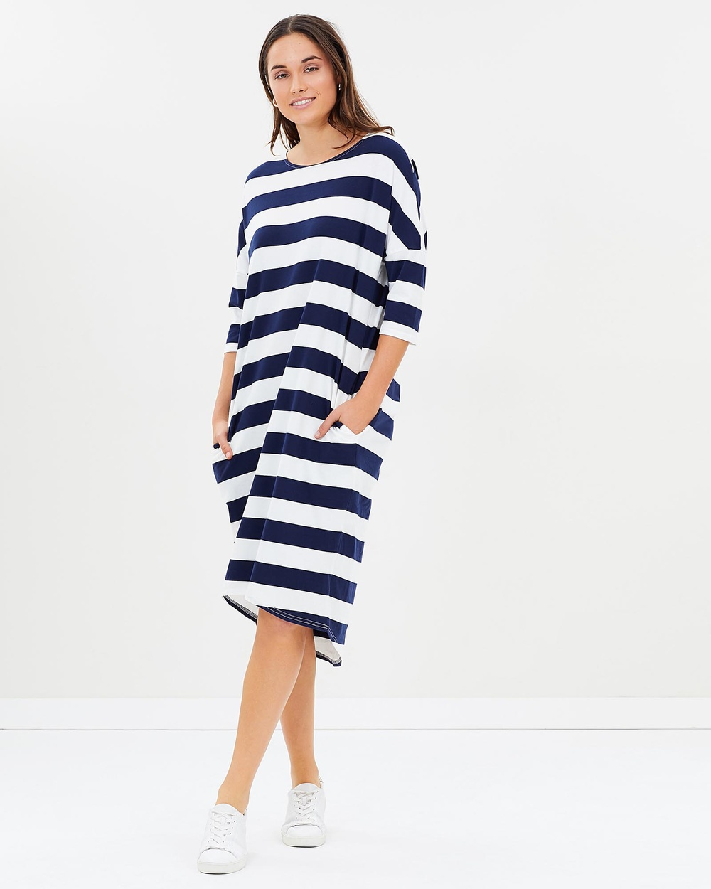 Lincoln St Cocoon Dress Dresses Navy Stripes Cocoon Dress