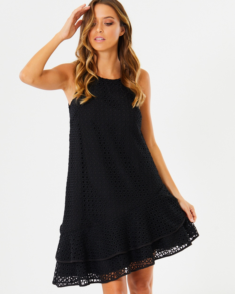 Calli Melina Frill Hem Dress Dresses Black Lace Melina Frill-Hem Dress