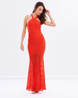 Romance by Honey and Beau – Rita Halter Maxi Dress Red
