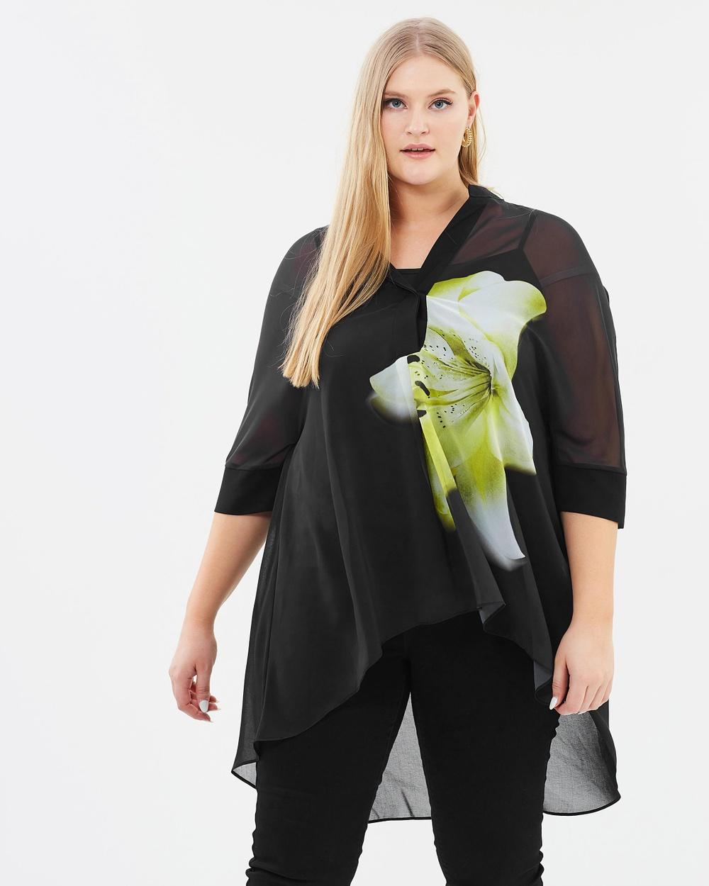 EVANS Floral Shirt Tops Black Floral Shirt
