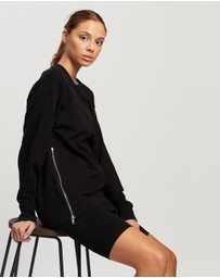 DKNY - Crewneck Pullover with Side Zipper Detailing