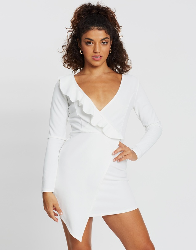 Missguided Petite - Ruffle Wrap Over Mini Dress