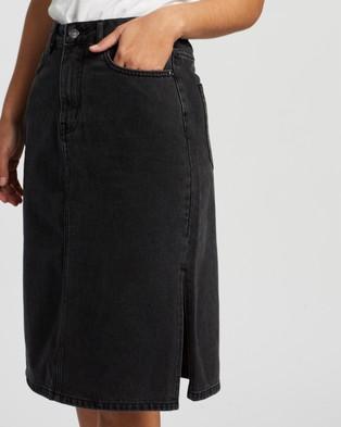 Atmos&Here Venice Split Side Skirt - Denim skirts (Washed Black)