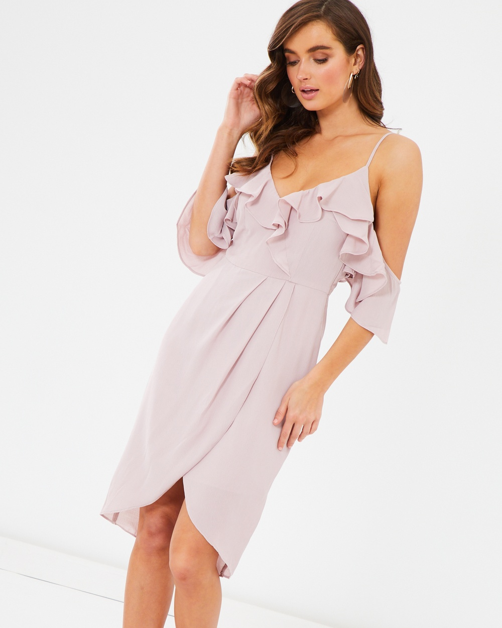 Tussah Libra Ruffle Midi Dress Bridesmaid Dresses Lilac Libra Ruffle Midi Dress