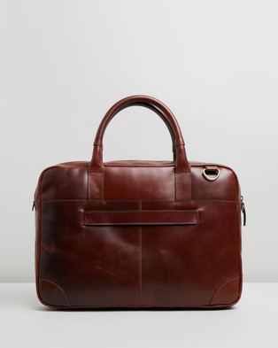Double Oak Mills Harry Leather Briefcase - Bags (Brown)