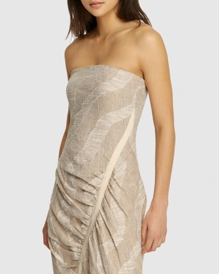 FRIEND of AUDREY Nadine Gathered Linen Print Dress - Printed Dresses (Natural Print)