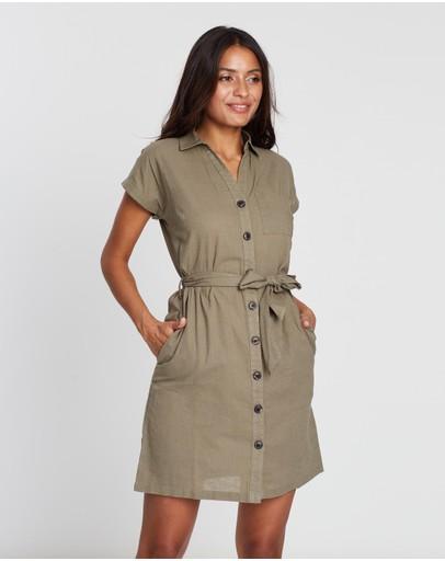 Dorothy Perkins Ss Linen Shirt Dress Green