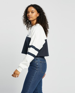 Abrand - A Oversized Crop Sweater Sweats (White & Navy)