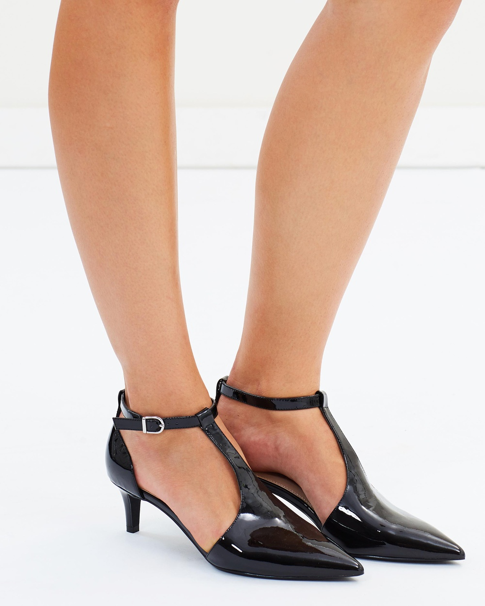 Atmos & Here ICONIC EXCLUSIVE Caelan Leather Heels Mid-low heels Black Patent ICONIC EXCLUSIVE Caelan Leather Heels