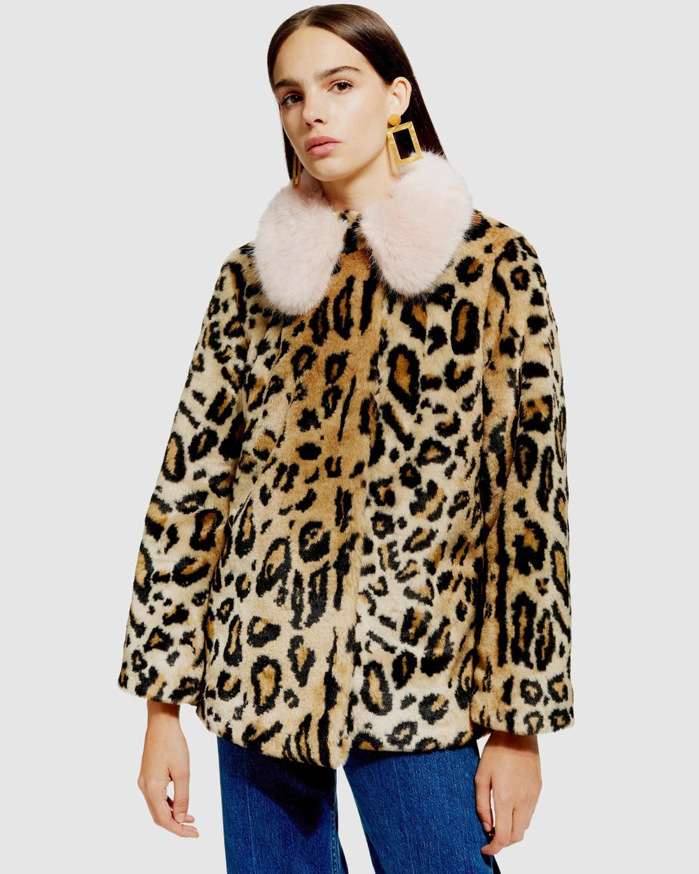 0654a134559f Leopard Faux Fur Coat by TOPSHOP Petite Online | THE ICONIC | Australia