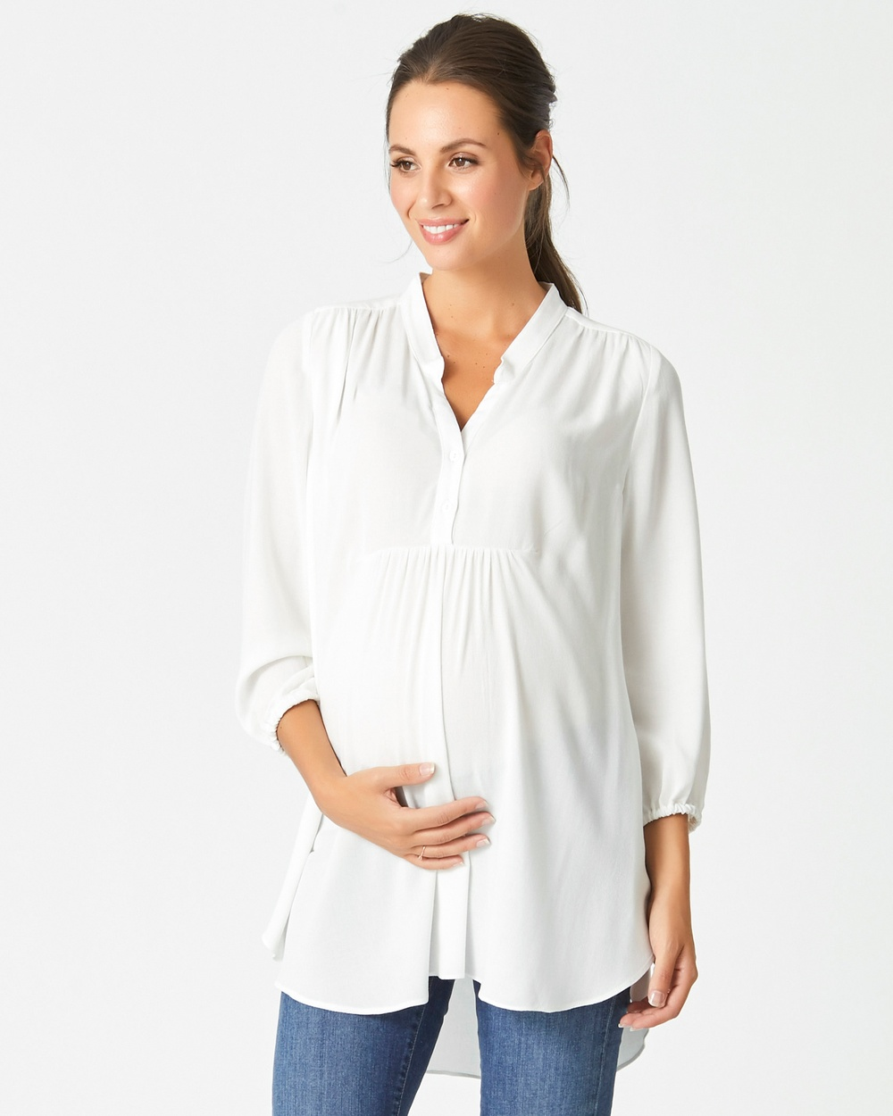 Pea in a Pod Maternity Imogen Gathered Nursing Top Tops White Imogen Gathered Nursing Top