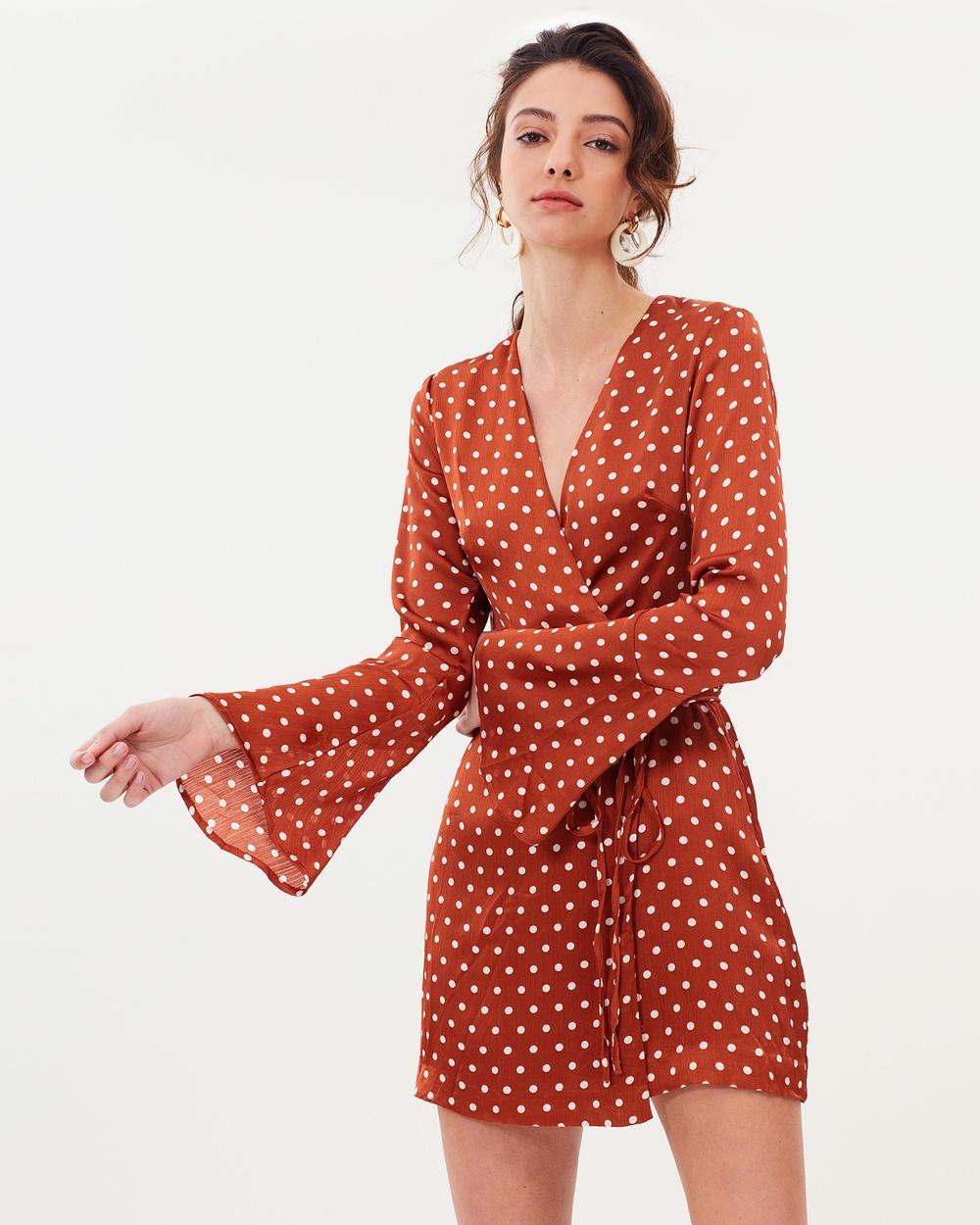 Lulu & Rose Anya Wrap Dress Printed Dresses Rust Spot Anya Wrap Dress