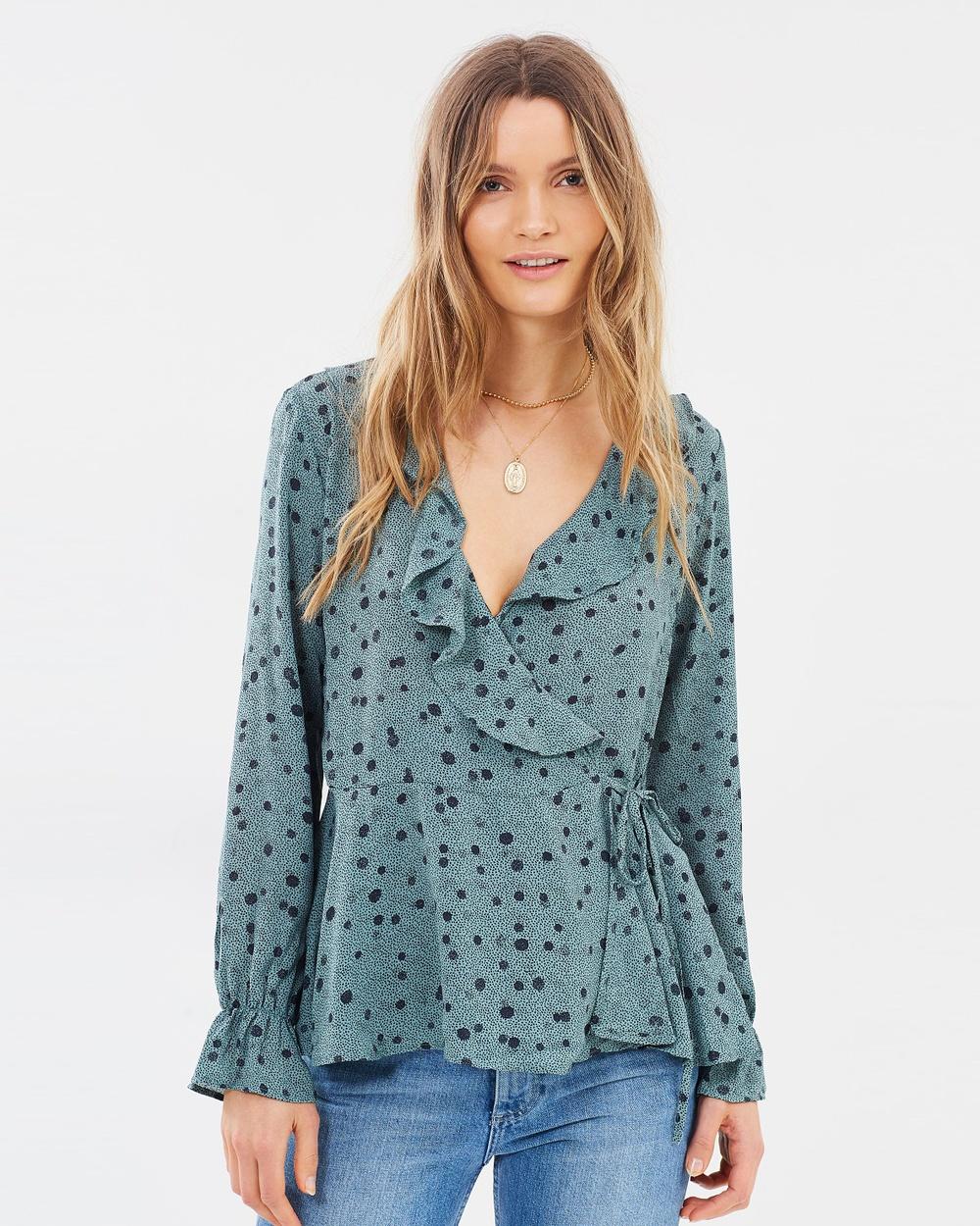 Vero Moda Ciao Long Sleeve Wrap Shirt Tops Chinois Green Ciao Long Sleeve Wrap Shirt