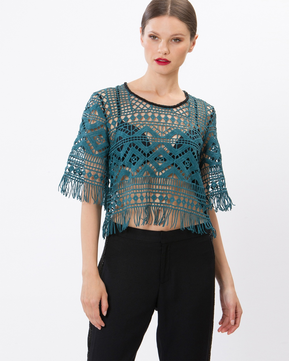 SIYONA Maya Mosaic Embroidered Beaded Top Tops Teal Maya Mosaic Embroidered Beaded Top
