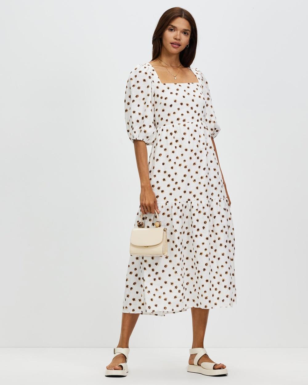 AERE Tie Back Linen Dress Printed Dresses Floral Print
