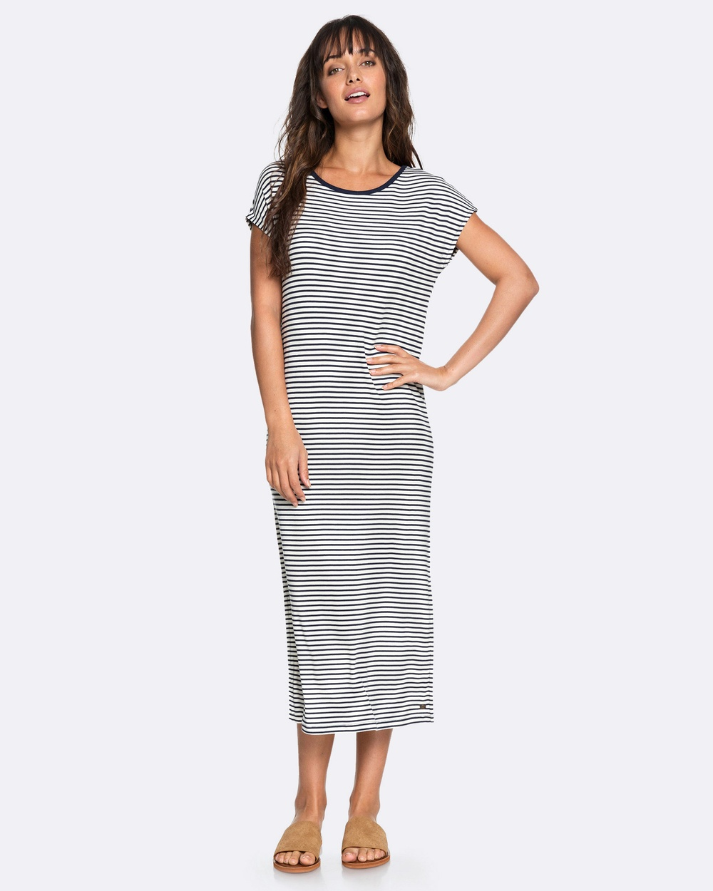 Roxy Womens Make It New Thin Stripe Maxi Tee Dress Swimwear MARSHMALLOW THIN STR Womens Make It New Thin Stripe Maxi Tee Dress