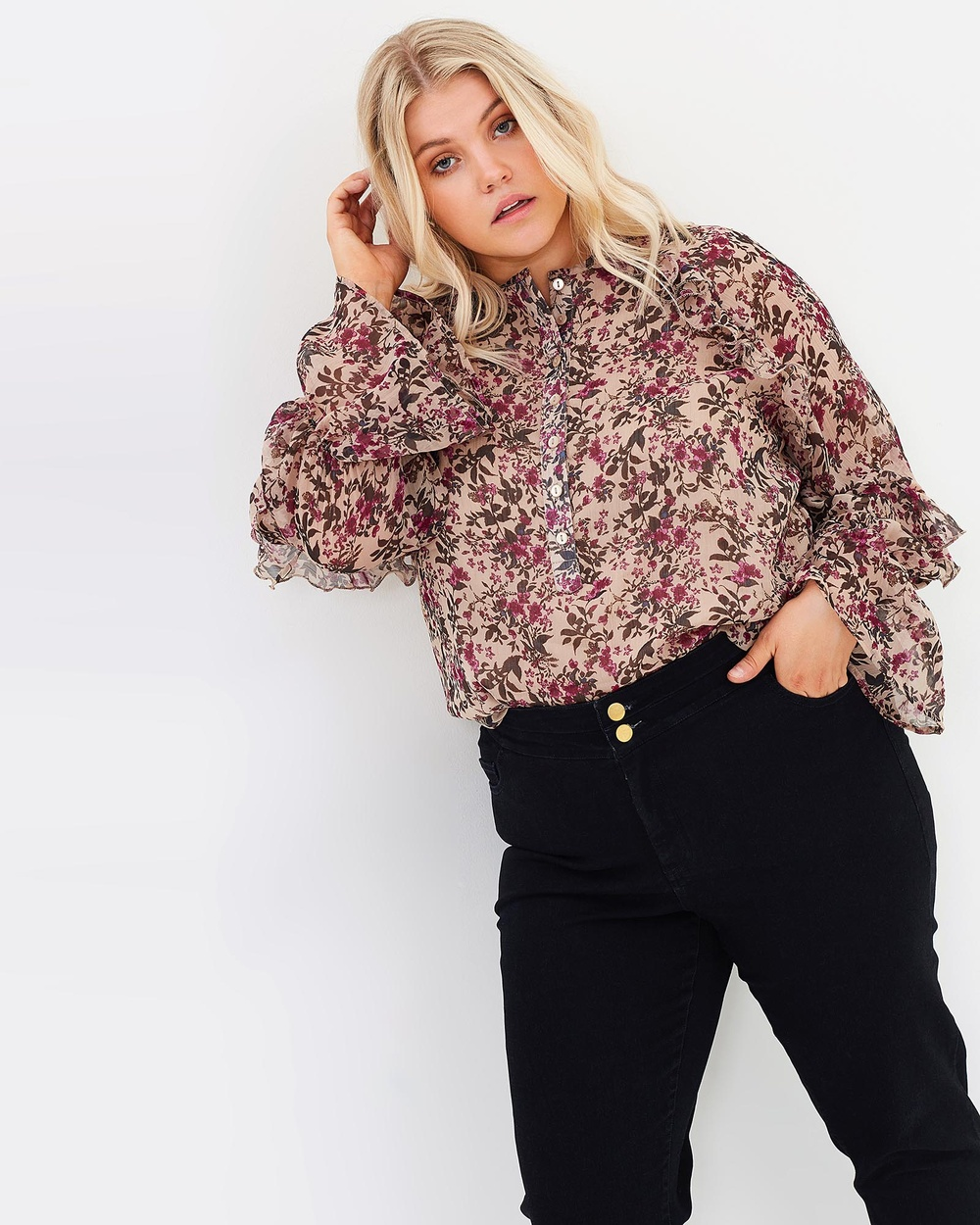 Hope & Harvest Haven Frill Top Tops Nude Multi Haven Frill Top