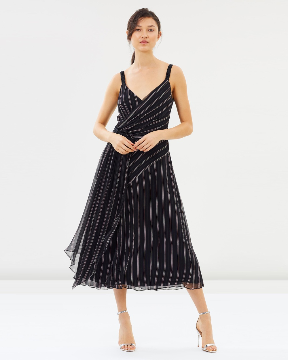 GREY Jason Wu Black Multi Painterly Stripe Print Ruched Dress
