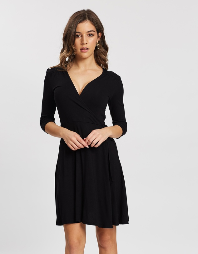 DP Petite - Wrap Short Sleeve Dress