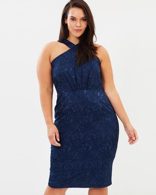 Atmos & Here Curvy – Lara Brocade Midi Dress Navy