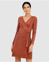 Forcast - Natalina Faux Suede Wrap Dress