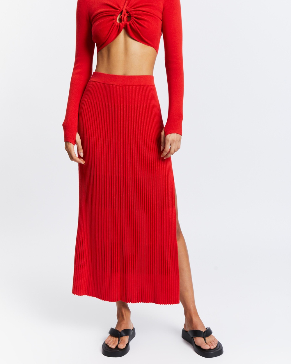 AERE Organic Cotton Pleat Knit Skirt Pleated skirts Fire Red