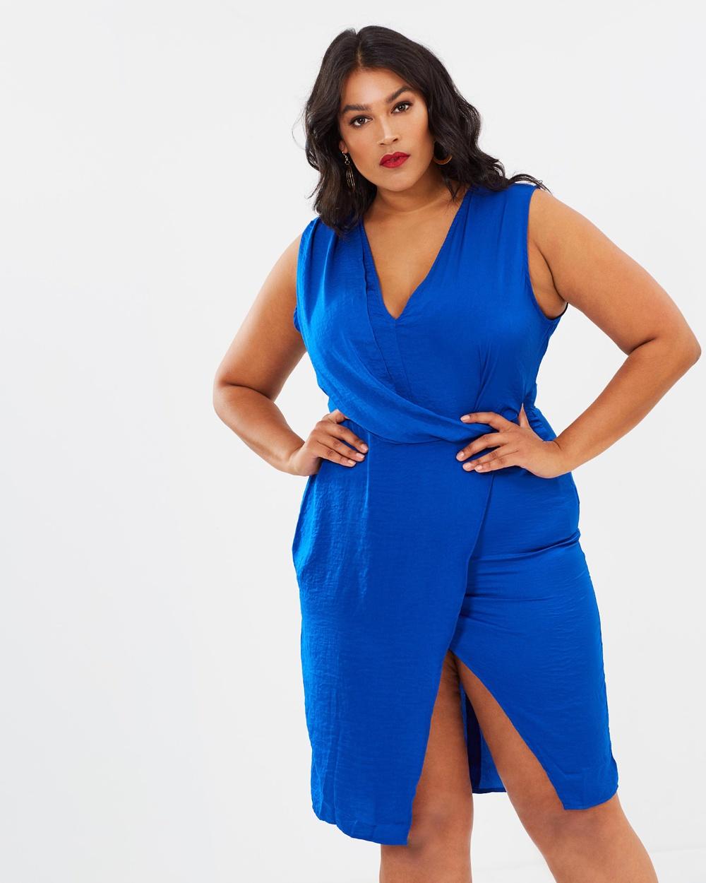 Missguided Curve Wrap Drape Front Dress Dresses Blue Wrap Drape Front Dress