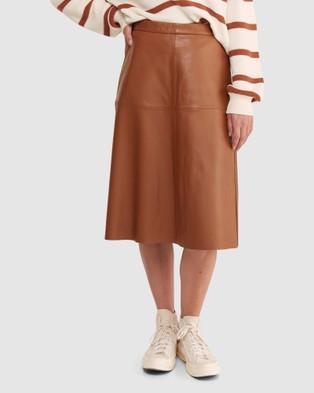 Sportscraft Fleur Leather Skirt - Leather skirts (Tan)