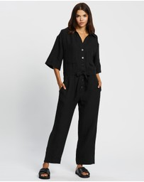 AERE - Belted Linen Jumpsuit
