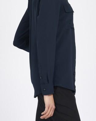 GINIA RTW Silk Poppy Shirt - Tops (Navy)