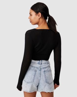 Cotton On - Arlo Textured Wrap Long Sleeve Top - Cropped tops (Black) Arlo Textured Wrap Long Sleeve Top
