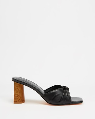 Atmos&Here Yumi Leather Heels - Mid-low heels (Black Leather)
