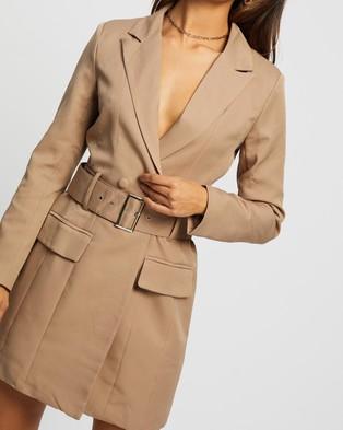 Missguided Belted Blazer Dress - Dresses (Stone)