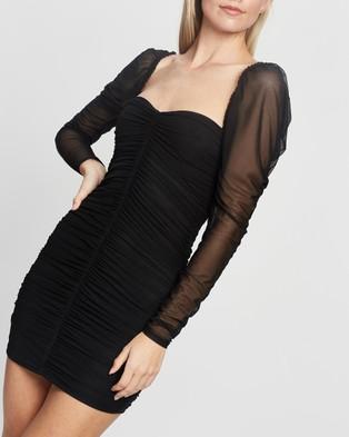 Missguided Mesh Ruched LS Mini Dress - Dresses (Black)