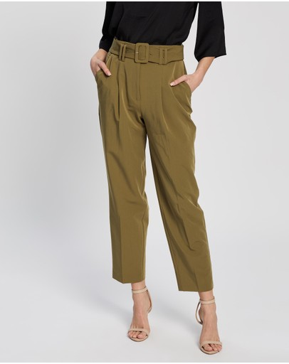 Dorothy Perkins Belted Tapered Trousers Green