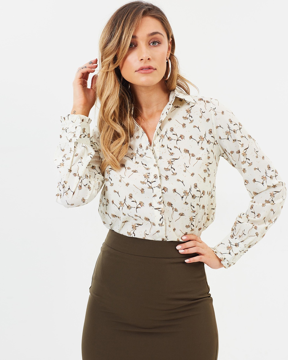 Forcast Chiara Button Up Shirt Tops Beige Chiara Button Up Shirt