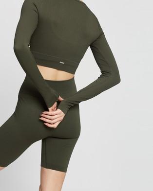 Aim'n Ribbed Seamless Crop Long Sleeve Top - Long Sleeve T-Shirts (Khaki)