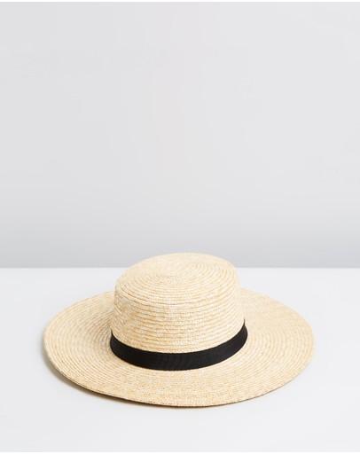 Ace Of Something Selene Straw Wide Brim Boater Natural & Black