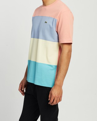 Lacoste Summer Colour Block T Shirt - T-Shirts & Singlets (Turquoise & Yellow)