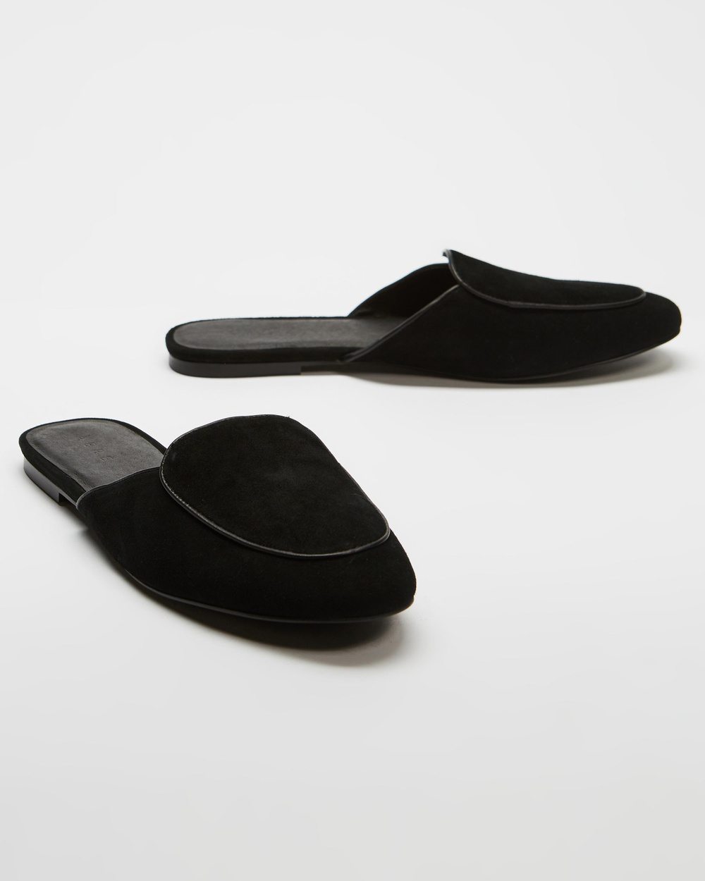 AERE Loafer Leather Mules Shoes Black Suede